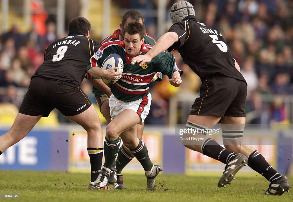 Steve Booth of Leicester takes on the Newcastle defence during the Zurich Premiership match between Leicester Tigers and Newcastle Falcons at Welford Road, Leicester. DIGITAL IMAGE Mandatory Credit: Dave Rogers/Getty Images
