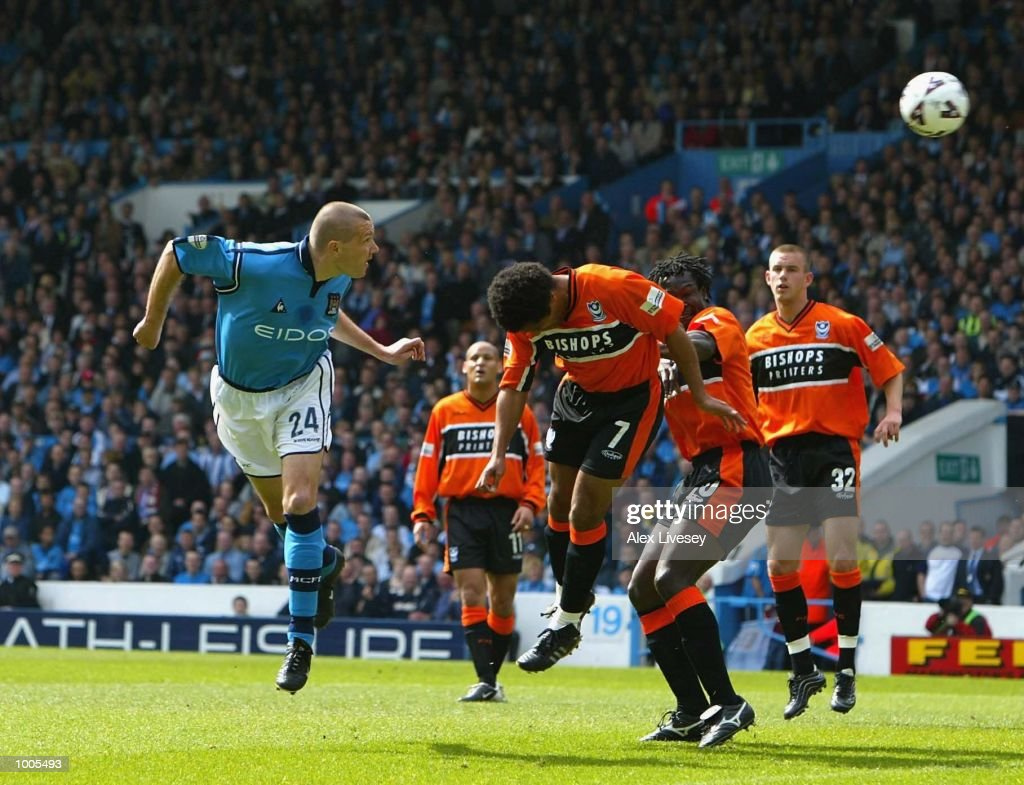 Steve Howey of Man City scores the first goal during the Nationwide Division One match between Manchester City and Portsmouth at Maine Road, Manchester. DIGITAL IMAGE. Mandatory Credit: Alex Livesey/Getty Images