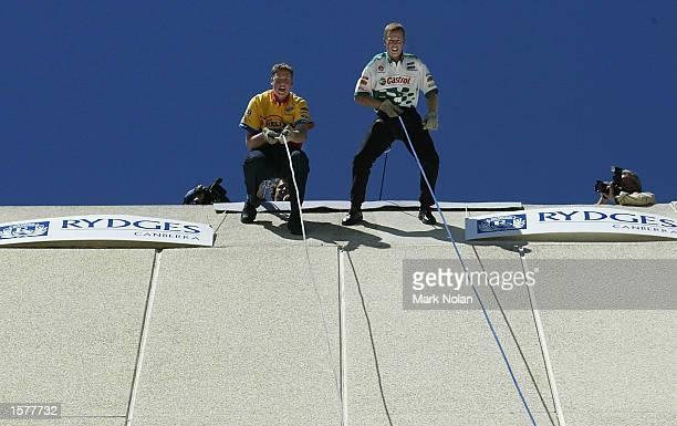 Steve Johnson and Steve Richards ''rap jump'' during the launch of the Canberra 400 V8 race, at Ridges Lakeside, Canberra, Australia. DIGITAL IMAGE....