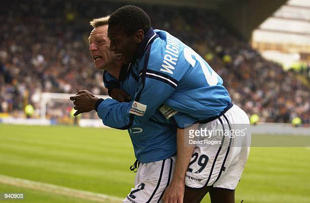 Stuart Pearce and Shaun WrightPhillips of Manchester City celebrate during the Nationwide League Division One match between Wolverhampton Wanderers...