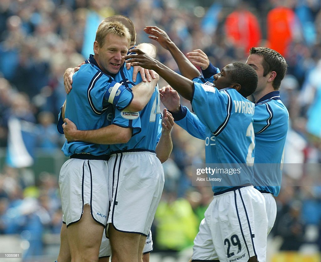 Stuart Pearce of Man City celebrates with goalscorer, Steve Howey during the Nationwide First Division game between Manchester City and Portsmouth at Maine Road, Manchester. DIGITAL IMAGE. Mandatory Credit: Alex Livesey/Getty Images