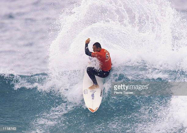 Sunny Garcia of Hawaii overcame Australian Jake Paterson to advance to the quarter finals of the Rip Curl Pro at Bells Beach Torquay Victoria...