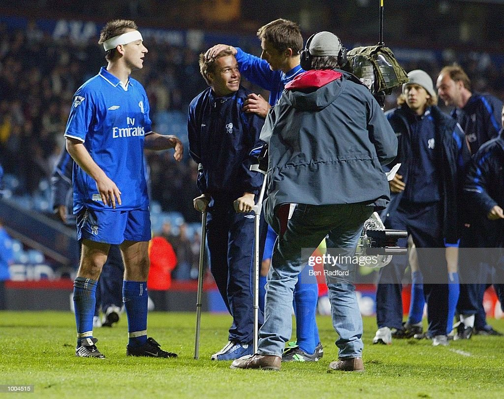 The injured Graeme Le Saux of Chelsea celebrates their win during the Axa FA Cup Semi Final match between Chelsea and Fulham at Villa Park, Birmingham. DIGITAL IMAGE. Mandatory Credit: Ben Radford/Getty Images