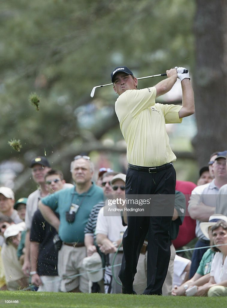 Thomas Bjorn of Denmark plays his second shot on the first hole during the final round of the Masters Tournament from the Augusta National Golf Club in Augusta, Georgia. DIGITAL IMAGE. EDITORIAL USE ONLY Mandatory Credit: Andrew Redington/Getty Images