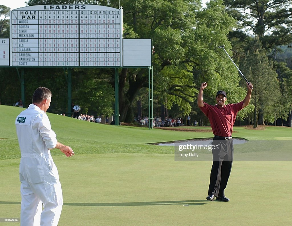 Tiger Woods of the USA celebrates after his victory on the 18th green during the final round of the Masters Tournament from the Augusta National Golf Club in Augusta, Georgia. DIGITAL IMAGE. EDITORIAL USE ONLY Mandatory Credit: Allsportetty/Getty Images