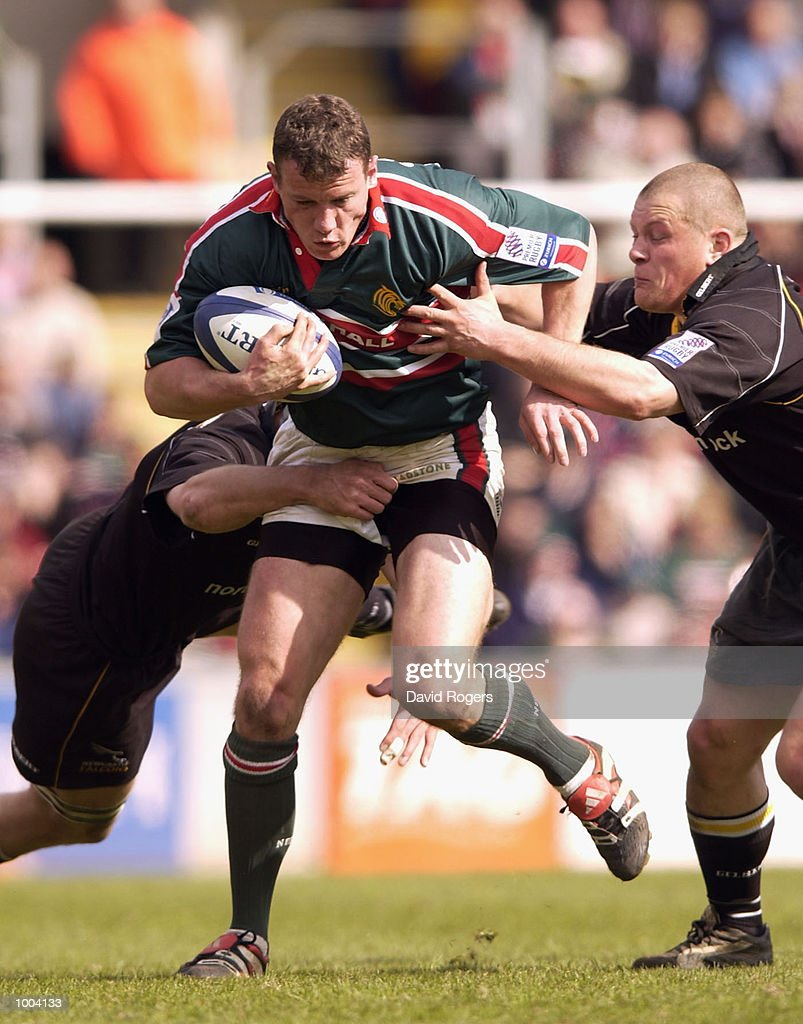 Tim Stimpson of Leicester takes on the Newcastle defence during the Zurich Premiership match between Leicester Tigers and Newcastle Falcons at Welford Road, Leicester. DIGITAL IMAGE Mandatory Credit: Dave Rogers/Getty Images