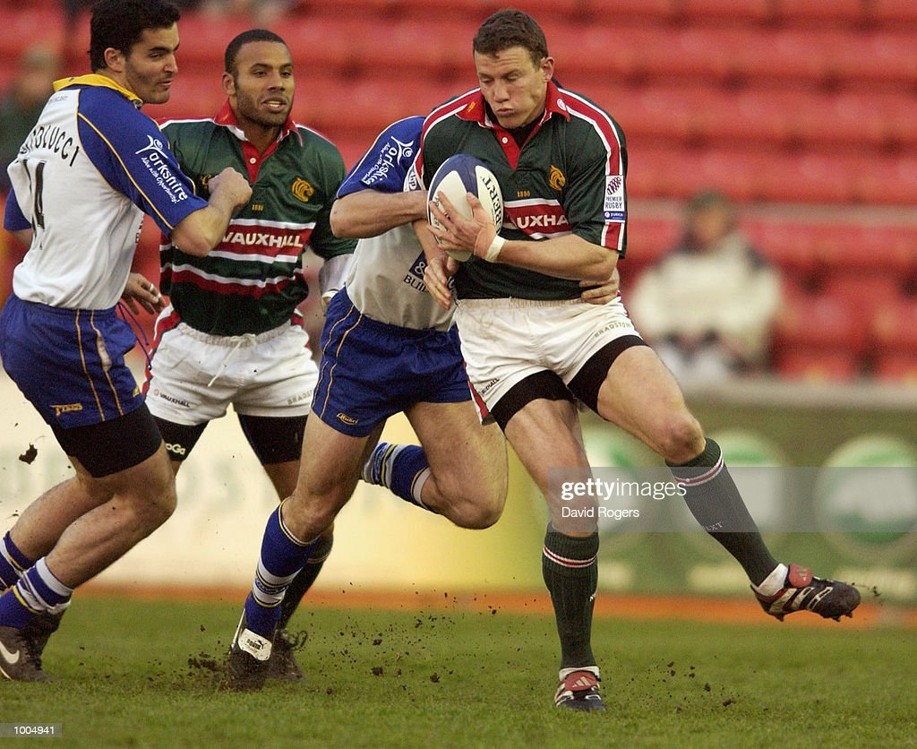 Tim Stimpson the Leicester fullback is tackled during the Zurich Premiership match between Leicester Tigers and Leeds Tykes at Welford Road, Leicester. DIGITAL IMAGE Mandatory Credit: Dave Rogers/Getty Images