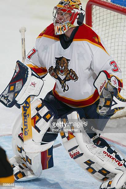 Trevor Kidd of the Florida Panthers defends the goal against the Pittsburgh Penguins during the game at National Car Rental Center in Sunrise Florida...