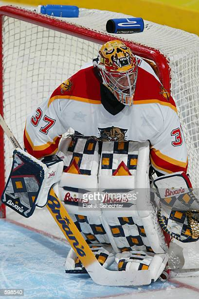 Trevor Kidd of the Florida Panthers during the game against the Pittsburgh Penguins at National Car Rental Center in Sunrise Florida The Panthers won...