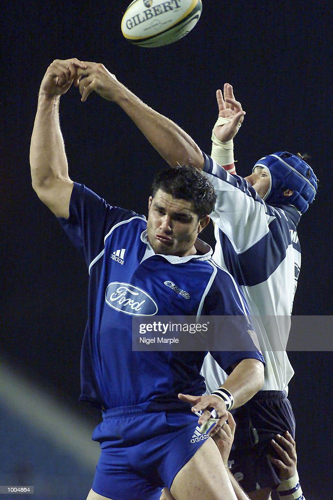 Troy Flavell #6 of the Blues contests line out ball with Victor Matfeild #5 of the Bulls during the Super 12 game between the Blues and the Bulls at Eden Park Auckland, New Zealand. The Blues won 65-24. DIGITAL IMAGE. Mandatory Credit: Nigel Marple/Getty Images