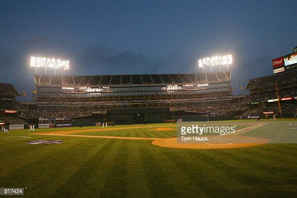 View of the field during the opening day game at Network Associates Coliseum in Oakland, California. The A's won 8-3.DIGITAL IMAGE. Mandatory Credit:...
