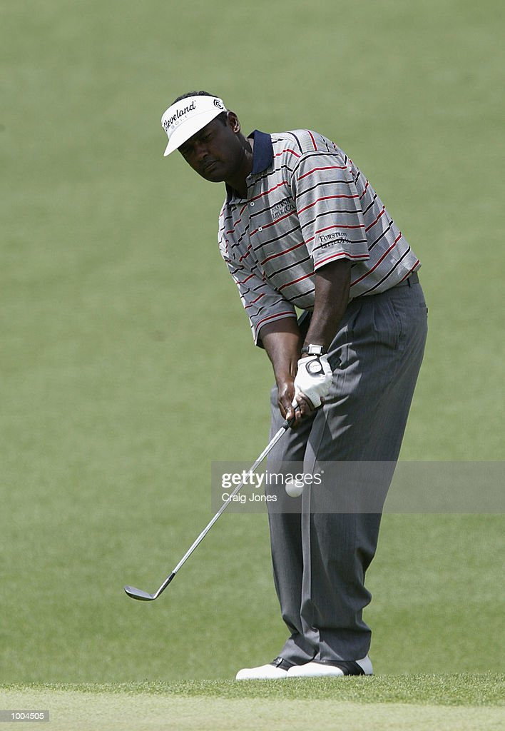 Vijay Singh of Fiji plays his third shot to the second green during the final round of the Masters Tournament from the Augusta National Golf Club in Augusta, Georgia. DIGITAL IMAGE. EDITORIAL USE ONLY Mandatory Credit: Craig Jones/Getty Images