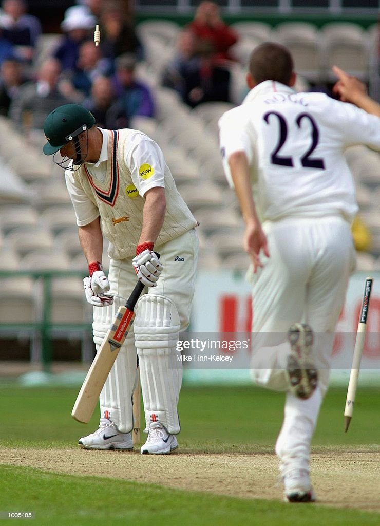 Vince Wells of Leicestershire is clean bowled for a golden duck by Karl Hogg of Lancashire during the Frizzell County Championship match between Lancashire and Leicestershire at Old Trafford, Manchester. DIGITAL IMAGE Mandatory Credit: Mike Finn Kelcey/Getty Images