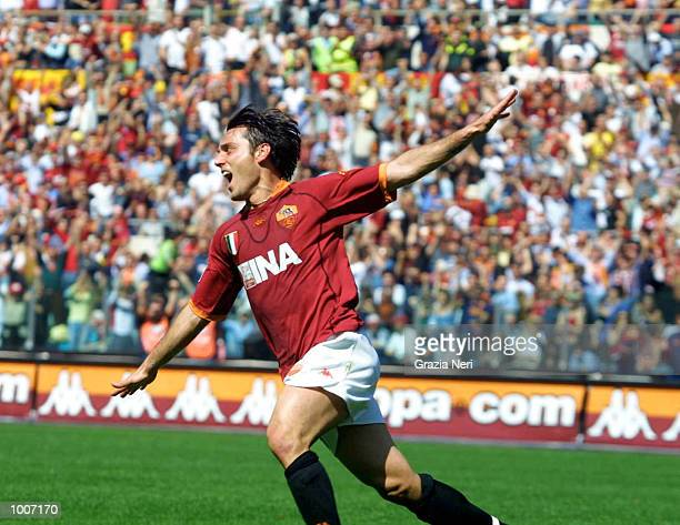 Vincenzo Montella of Roma celebrates scoring during the Serie A match between Roma and Chievo played at the Olympic Stadium Rome DIGITAL IMAGE...