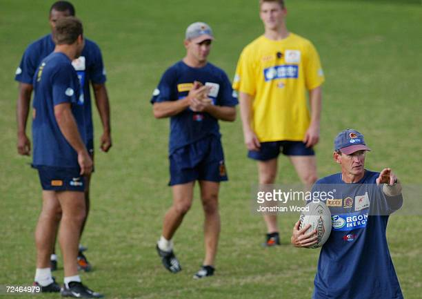 Wayne Bennett of the Brisbane Broncos directs players during a team training session held today at the Broncos Leagues Club Brisbane Australia...