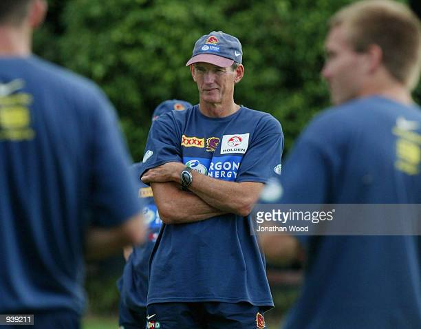 Wayne Bennett of the Brisbane Broncos in thought during a team training session held today at the Broncos Leagues Club Brisbane Australia DIGITAL...