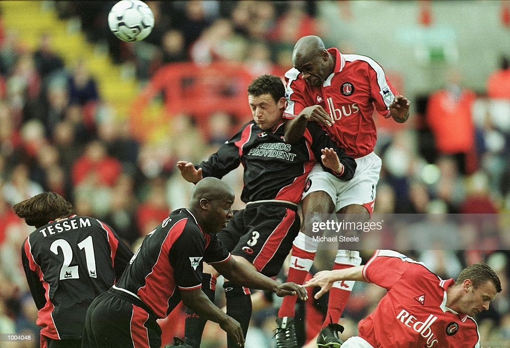 Wayne Bridge of Southampton is challenged to the ball in the air by Richard Rufus of Charlton during the FA Barclaycard Premiership match between Charlton Athletic and Southampton at The Valley, London. DIGITAL IMAGE. Mandatory Credit: Michael Steele/Getty Images