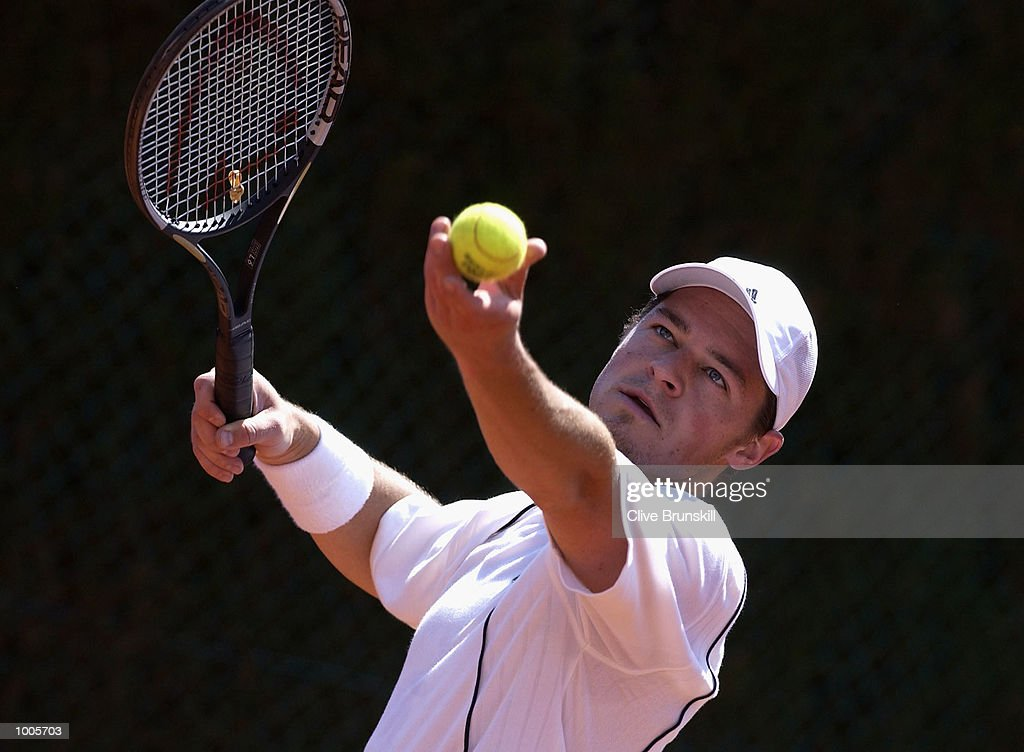 Zeljko Krajan of Croatia about to serve during his first round match against Hicham Arazi of Morocco during the Open Seat Godo, Barcelona, Spain . DIGITAL IMAGE Mandatory Credit: Clive Brunskill/Getty Images