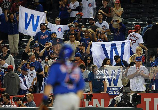 Chicago Cubs fans wave W flags after the Cubs defeated the Los Angeles Angels of Anaheim 9 to 0 in the Angels home opener played at Angel Stadium of...