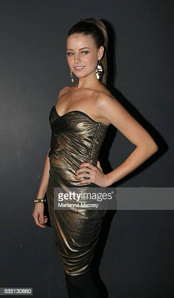 Apr 28 2008 Sydney Australia April Rose Pengilly arrives at the MAC Cosmetics Gold Fever 2008 event during the Rosemount Australian Fashion Week in...