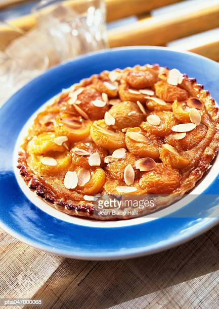 Apricot and almond pie, close-up