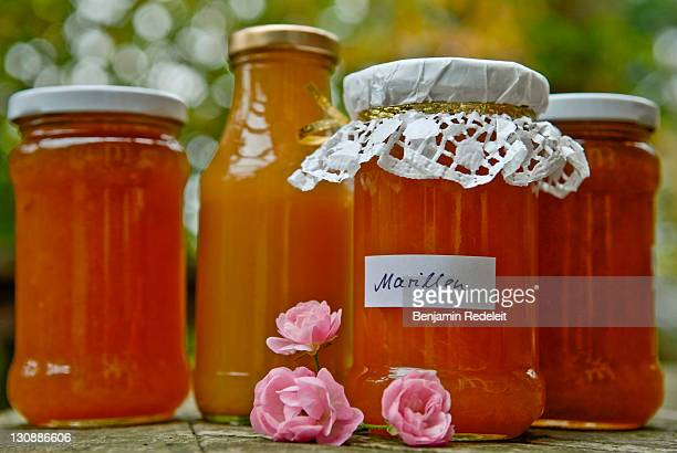 Apricot marmelade and nectar in a glass