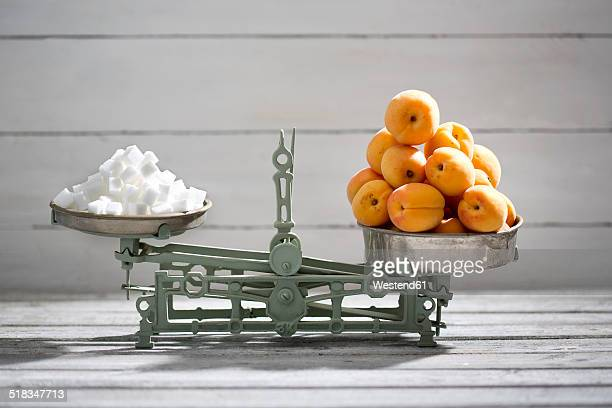 Apricots and sugar cubes on a scale