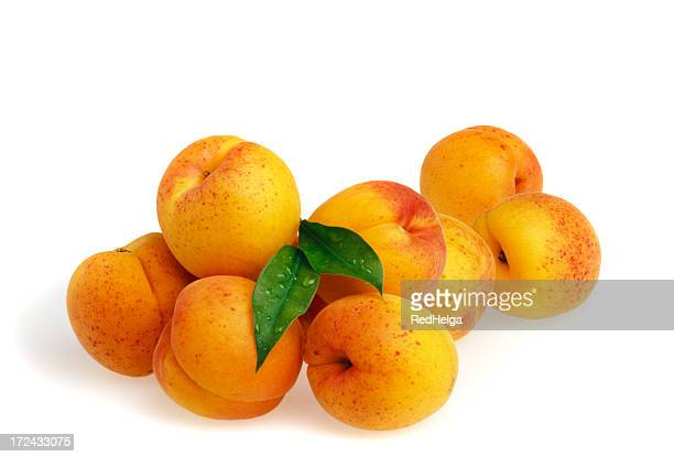apricots with leafs - apricot stock pictures, royalty-free photos & images