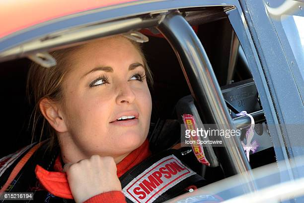Erica EndersStevens Dodge Dart NHRA Pro Stock prepares for the third round of qualifying for the 17th Annual Densco Spark Plugs NHRA Nationals at The...