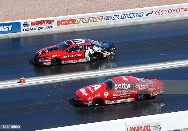 Erica EndersStevens Dodge Dart NHRA Pro Stock and Drew Skillman Chevrolet Camaro NHRA Pro Stock during the NHRA Denso Spark Plugs NHRA Nationals at...