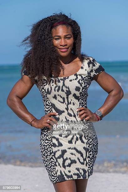 Serena Williams poses on Crandon Beach after defeating Carla Suarez Navarro 62 60 at the 2015 Miami Open at the Crandon Tennis Center in Key Biscayne...