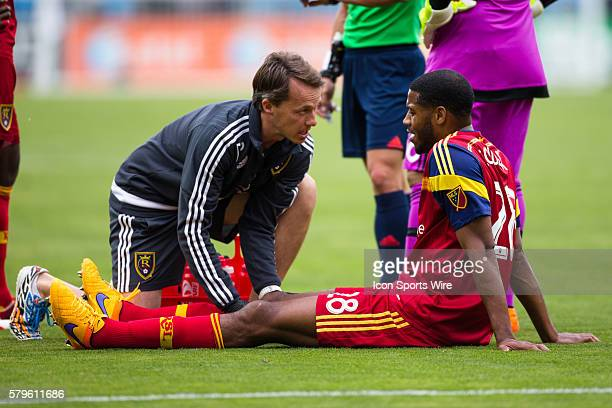 Real Salt Lake defender Chris Schuler is seen by the trainer during a major league soccer game between the San Jose Earthquakes and the Real Salt...