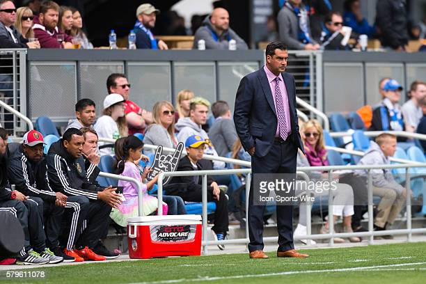 Real Salt Lake head coach Jeff Cassar watches from the touchline during a major league soccer game between the San Jose Earthquakes and the Real Salt...