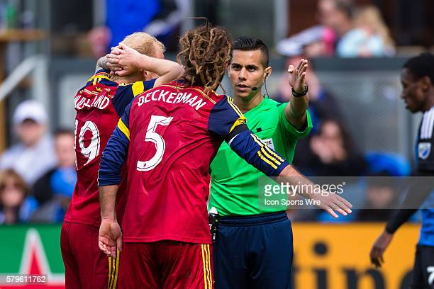 Real Salt Lake midfielder Kyle Beckerman argues with the referee during a major league soccer game between the San Jose Earthquakes and the Real Salt...