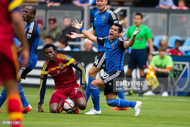San Jose Earthquakes midfielder Matias Perez Garcia protests to the referee after a call during a major league soccer game between the San Jose...