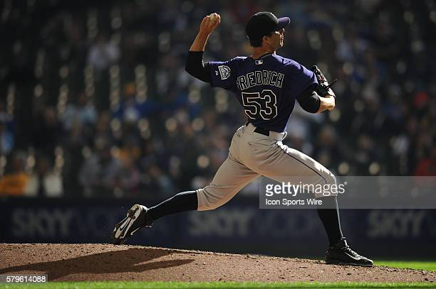 Colorado Rockies Pitcher Christian Friedrich [8442] pitches during a game between the Colorado Rockies and Milwaukee Brewers at Miller Park in...