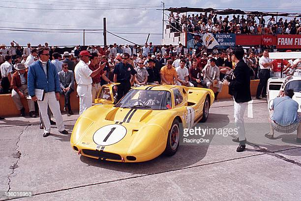 April 1, 1967: The No. 1 Ford MK IV sits on the grid at Sebring International Raceway prior to the running of the 12 Hours of Sebring. Mario Andretti...