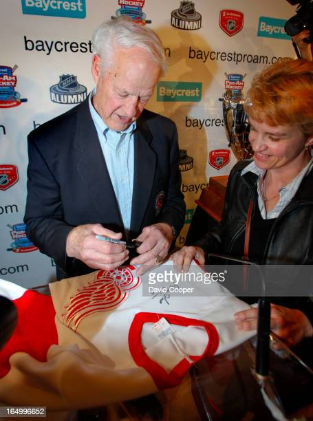 April 1 2009- Gordie Howe signs Autographs after they announced a fund to honour his wife Colleen who died last month of Pick's disease. Mr. Hockey...