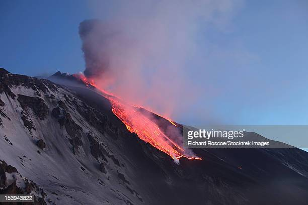 April 1, 2012 - Lava flowing into Valle del Bove at Mount Etna Volcano, Italy, following paroxysmal eruption.