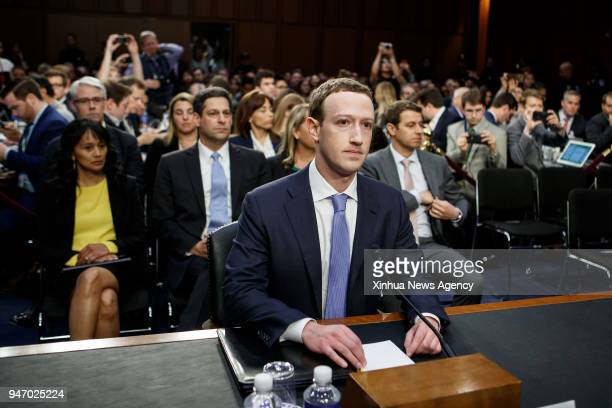Facebook CEO Mark Zuckerberg testifies at a joint hearing of the Senate Judiciary and Commerce committees on Capitol Hill in Washington DC United...