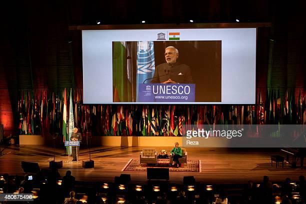 April 10 Grand Auditorium World Heritage Center UNESCO headquarter Paris France Speech of His Excellence Shri Narendra Modi the India's Prime...