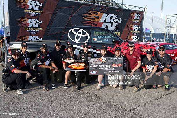 Erica EndersStevens Chevrolet Camaro NHRA Pro Stock and contestants celebrate winning the KN Horsepower Challenge during the second day of qualifying...