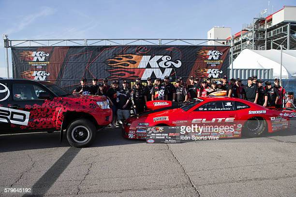 Erica EndersStevens Chevrolet Camaro NHRA Pro Stock and crew celebrate winning the KN Horsepower Challenge during the second day of qualifying for...
