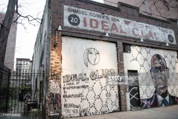 The IDEAL GLASS and DAPPERDANHARLEM mural by artist BLACKPICASSO who is referred to as The New SAMO a reference to Jean Michel Basquiat Photographed...