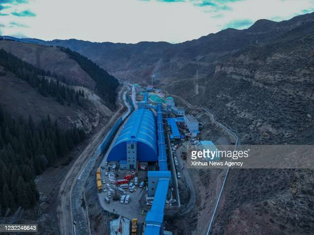April 11, 2021 -- Aerial photo taken on April 11, 2021 shows a rescue site at a flooded coal mine in Hutubi County of Hui Autonomous Prefecture of...