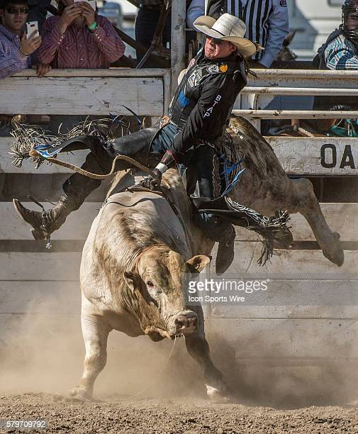 Dakota Louis from Browning Montana scores 81 points in bull riding at the 64th Annual Oakdale Rodeo on Sunday April 12 2015