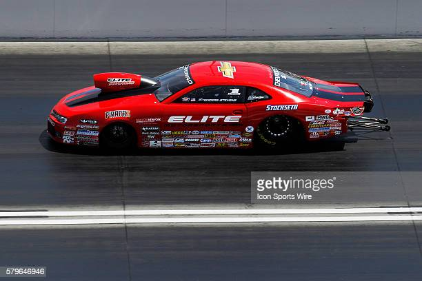 Erica EndersStevens Chevrolet Camaro NHRA Pro Stock in action during eliminations for the 16th Annual SummitRacingcom NHRA Nationals at The Strip at...