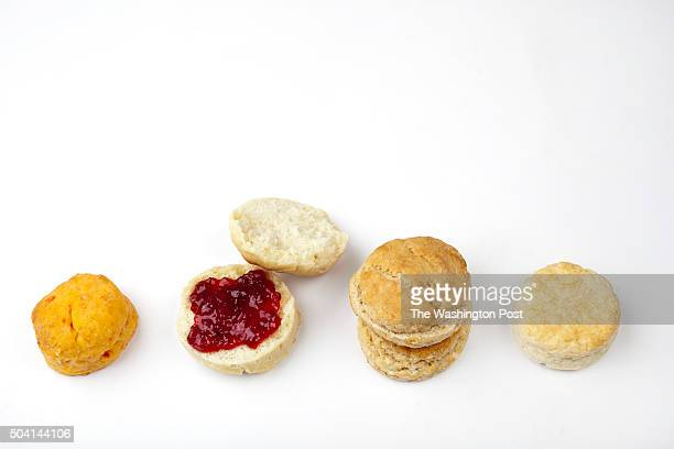 Biscuits from the new Nathalie Dupree book from left to right Pimento Cheese Biscuit Make Ahead Shenandoah Biscuit with Jelly CocaCola Biscuits Olive...
