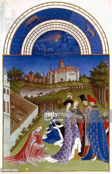 April 14121416 Planetary figure of the Sun in his chariot and zodiac figures of Aries and Taurus at the top The Duc de Berry wearing a blue robe with...