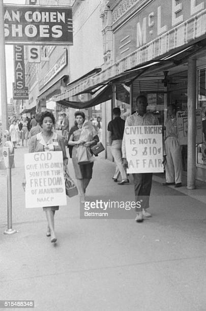 April 15, 1960 Little Rock, Arkansas: Mrs. Daisey Bates, State President of the N.A.A.C.P joined in the picketing of three downtown department...